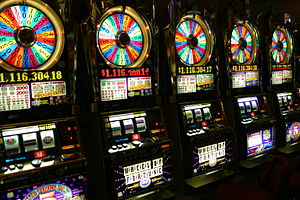 "A row of ""Wheel of Fortune"" slot mac..."